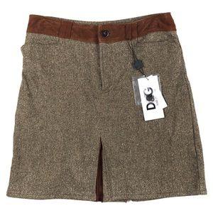 NWT D&G Dolce & Gabbana Classic Brown Tweed Skirt